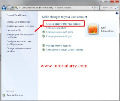 create a Password for your account