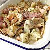 Roasted baby potatoes with salmon belly and hams