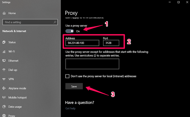 تمكين Use a proxy server - windows 10