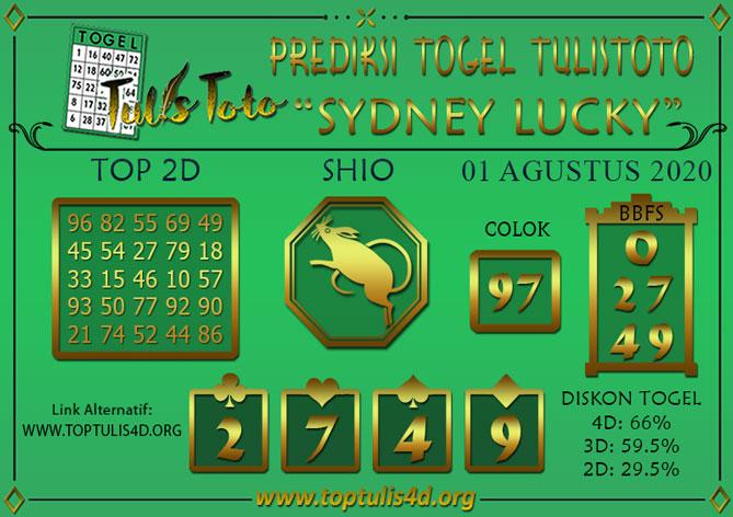 Prediksi Togel SYDNEY LUCKY TODAY TULISTOTO 01 AGUSTUS 2020