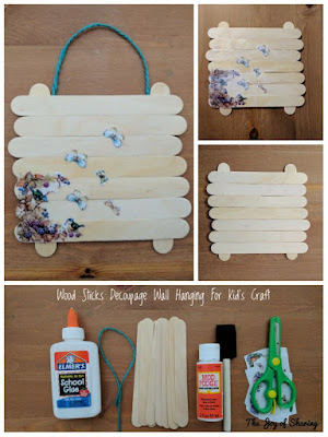 Decoupage, Craft Stick, Toddler Craft, Easy Kids Craft, Wall Hanging Craft