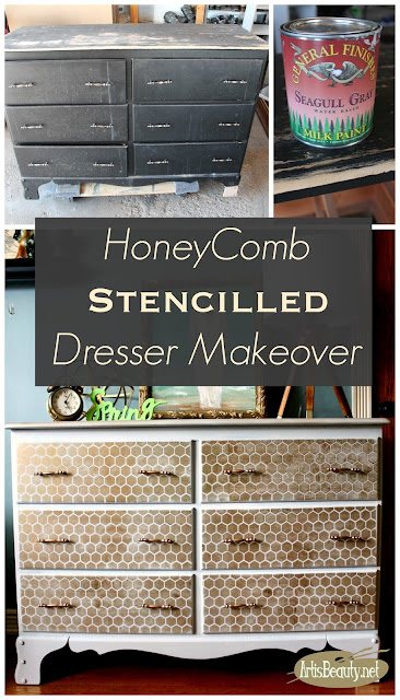 honeycomb stencilled dresser makeover general finishes seagull gray paint deco art stencil before and after