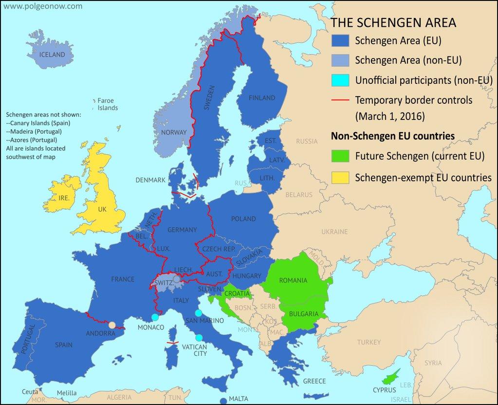 EU Schengen Area as of March 2016