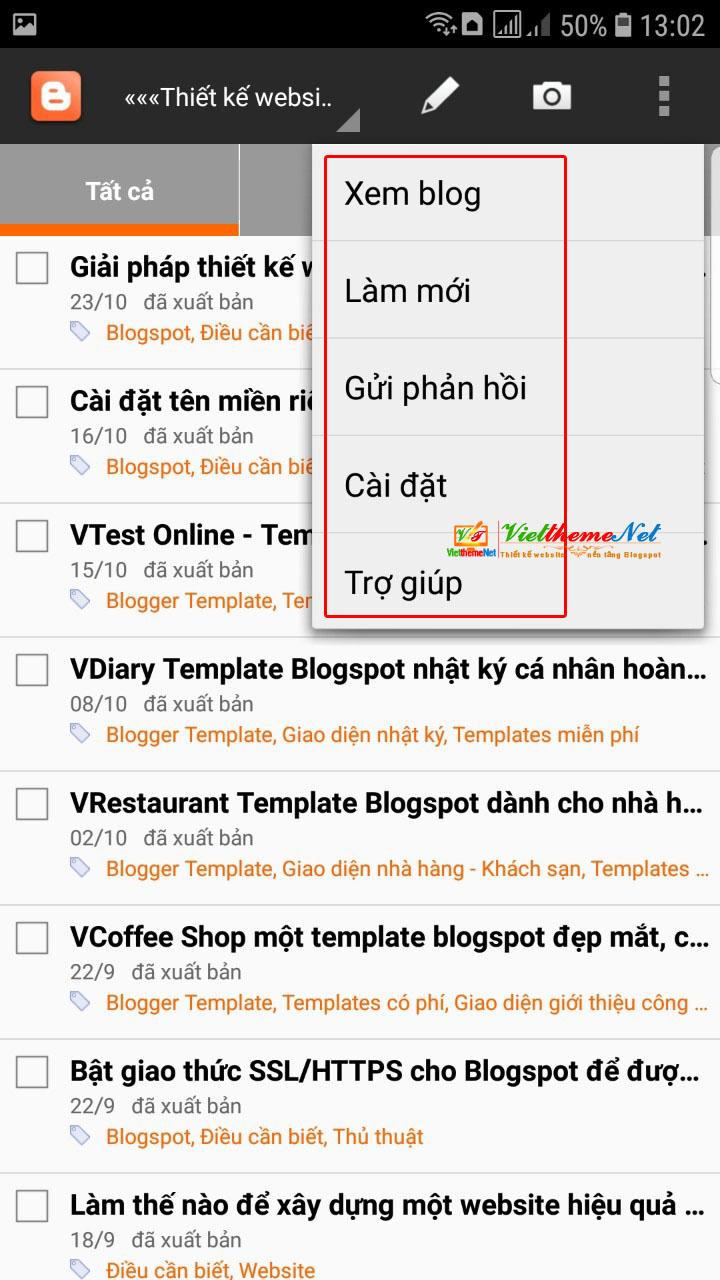 Ứng dụng bạn có thể xem blog, cài đặt, làm mới...