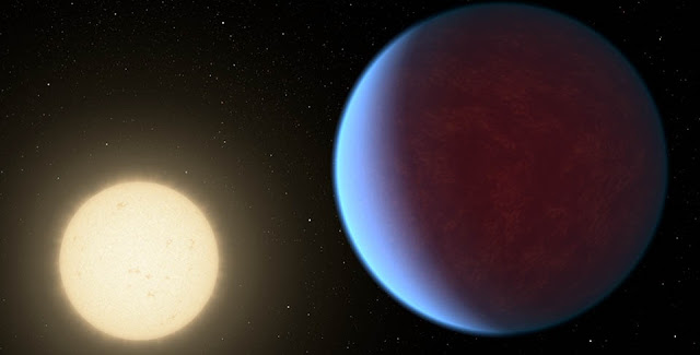 The super-Earth exoplanet 55 Cancri e, depicted with its star in this artist's concept, likely has an atmosphere thicker than Earth's, with ingredients that could be similar to those of Earth's atmosphere, according to a 2017 study using data from NASA's Spitzer Space Telescope. Scientists say the planet may be entirely covered in lava. The planet is so close to its star that one face of the planet consistently faces the star, resulting in a dayside and a nightside. Credit: NASA/JPL-Caltech