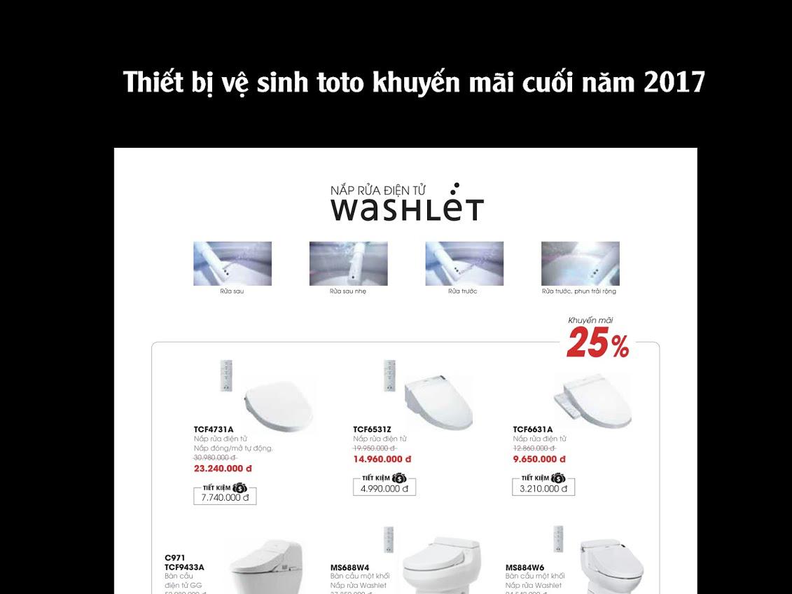 Thiết bị vệ sinh TOTO khuyến mãi cuối năm 2017