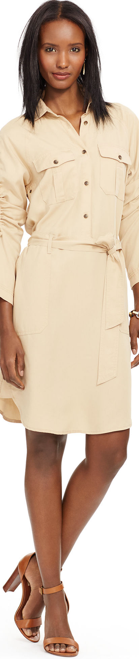 Ralph Lauren Ruched-Sleeve Shirtdress