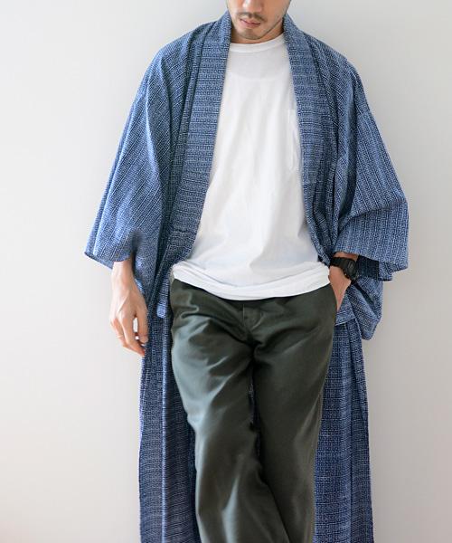 アンティーク着物 浴衣 ジャパンヴィンテージ 60年代 小紋 長着 野良着 FUNS