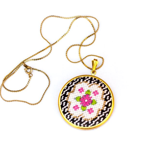 Victorian Posy Round Needlepoint Necklace by Jenny Henry Designs