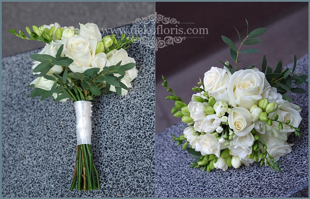 Biały bukiet ślubny róże i frezje