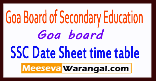 Goa SSC Date Sheet 2019 10th Time Table