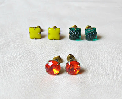 image vintage rhinestone earrings ear studs two cheeky monkeys square diamond round yellow neon emerald green hyacinth orange