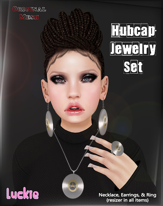#491 Exclusive 1 - The 100 Block Fair - Luckie - Hubcap Jewelry Set - ORIGINAL MESH