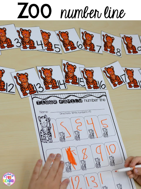 Zoo animal family number line for a zoo theme. Desert art FREEBIE. Prefect for preschool, pre-k, and kindergarten.