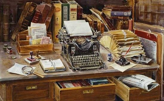 Escritorio antiguo con máquina de escribir