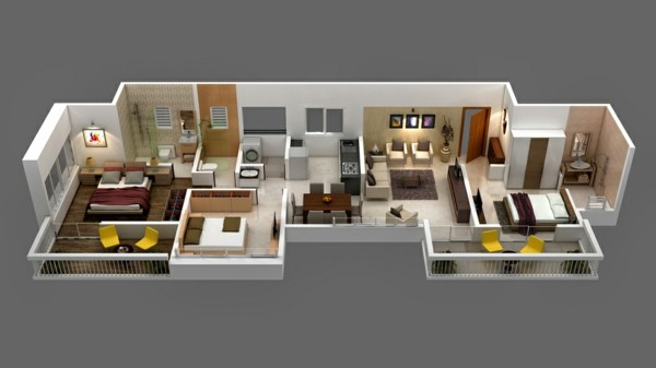 3D 3 bedroom house plan for long narrow apartment
