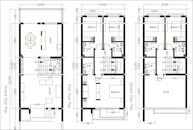 SketchUp 3 Story Home Plan 6x12m