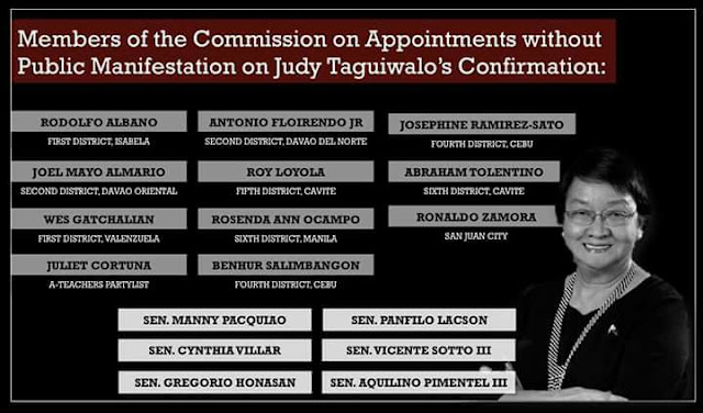 Find out who are those representatives and senators voted for Judy Taguiwalo rejection