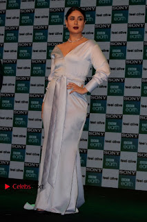 Bollywood Actress Kareena Kapoor Stills in Beautiful Silk Long Dress at Sony BBC Earth New Channel Launch  0012.jpg