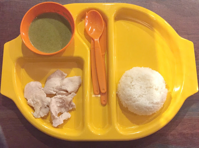 Kids meal rice chicken and green curry at Thaikhun