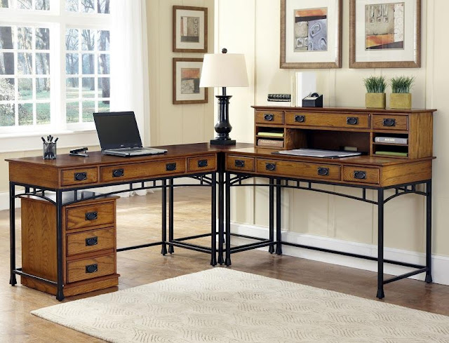 solid wood industrial home office desk photos