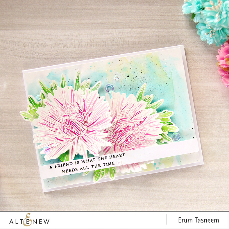 Altenew Build-A-Flower: Aster. Card by Erum Tasneem (@pr0digy0)