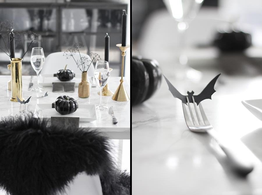 como decorar tu mesa para Halloween de manera elegante y sofisticada con elementos negros y dorados
