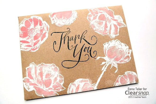 Whitewashed Pigment Ink Floral Envelope by Dana Tatar for Clearsnap