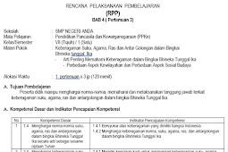 RPP PPKN Kelas 7 SMP Kurikulum 2013 Revisi Tahun 2017