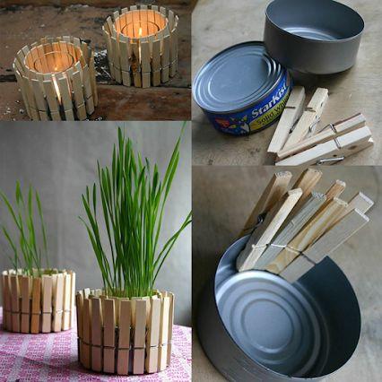 Portavelas con latas y pinzas
