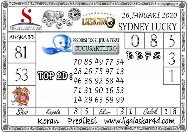 Prediksi Sydney Lucky Today LASKAR4D 26 JANUARI 2020