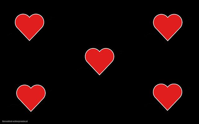 Rode liefdes hartjes op een zwarte achtergrond