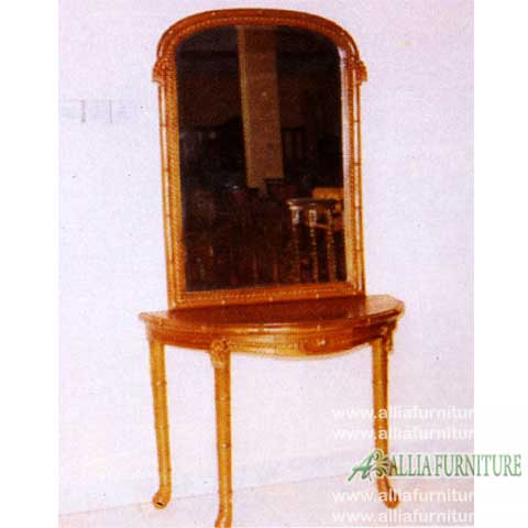 meja rias kayu jati ukiran model bambu