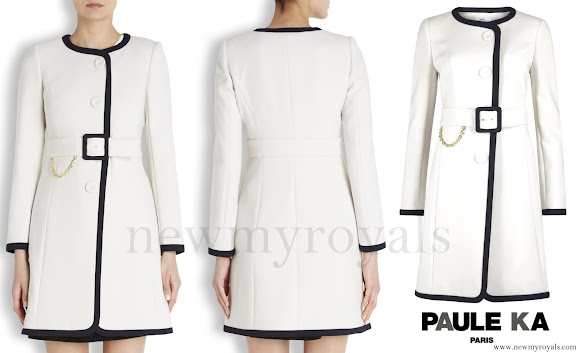 Princess Marie wore Paule Ka White Two-Tone Belted Coat
