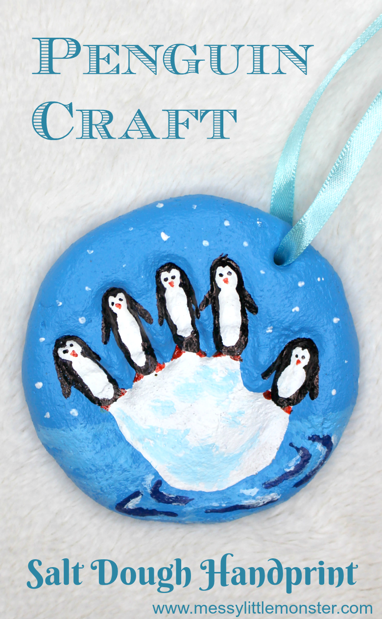 easy salt dough craft - penguin handprint ornament