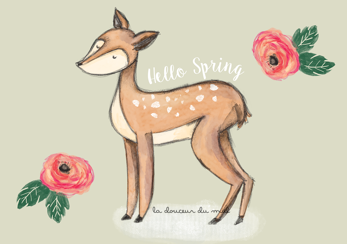 Spring Fawn digital illustration made using Photoshop with Alex Dukal brushes, pencils and watercolors, spring illustration with flowers