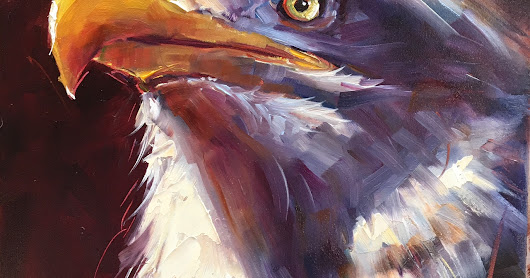 Olga Paints: ORIGINAL CONTEMPORARY BALD EAGLE Painting on Panel  in OILS by OLGA WAGNER