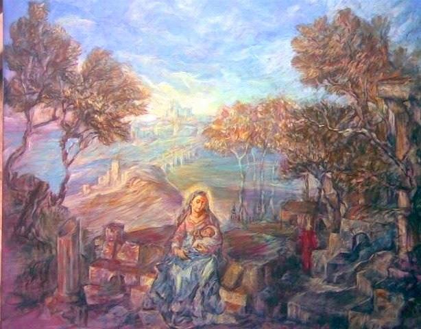 Virgen con el Niño, sobre las ruinas de Europa