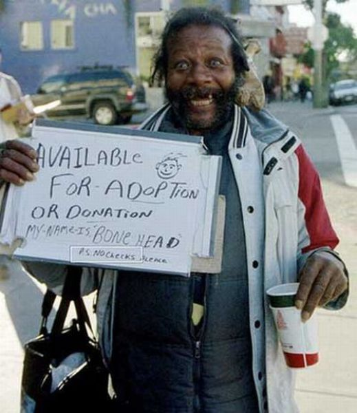 Funny hobo cardboard signs