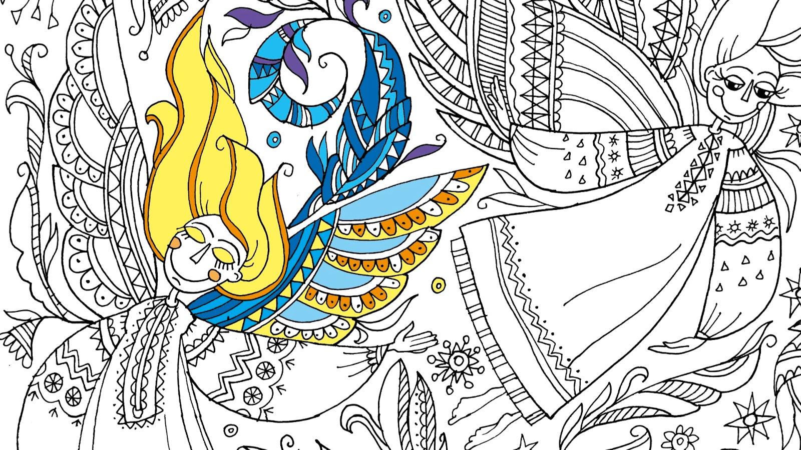 два кольори: Морозні Янголи Новогодняя раскраска для взрослых