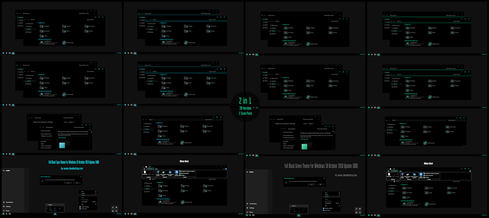 Full Black Cyan and Green Theme Windows10 October 2018 Update 1809