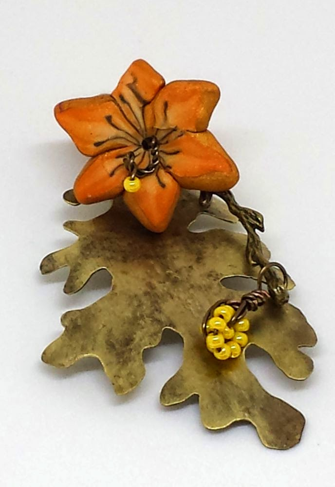 Beed Peeps Swap 'n Hop ~ flowers by Elaine Robataille, brass leaf by Marie Covert, brass branch, wire wrapping, copper, ooak necklace :: All Pretty Things