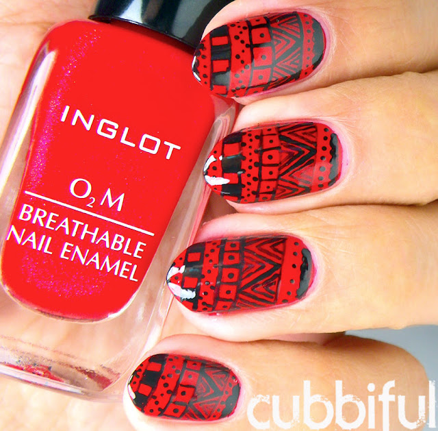 Red Freehand Tribal Nails