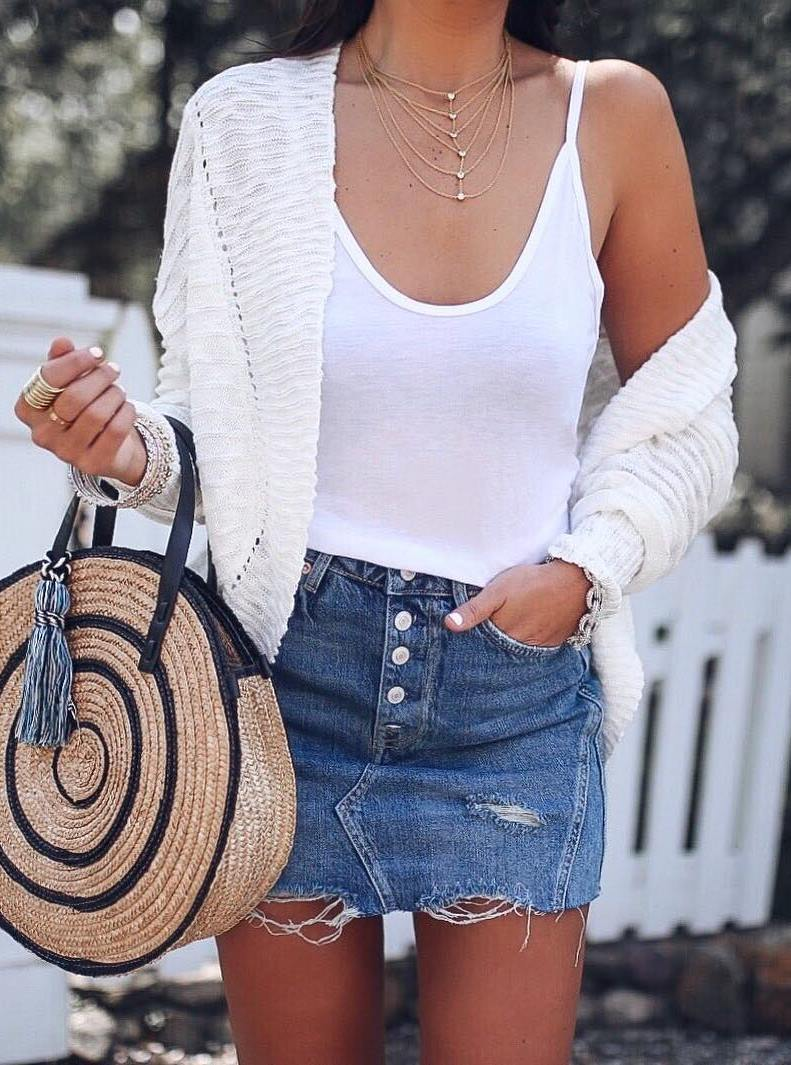 how to style a round bag : knit cardi + white top + denim skirt