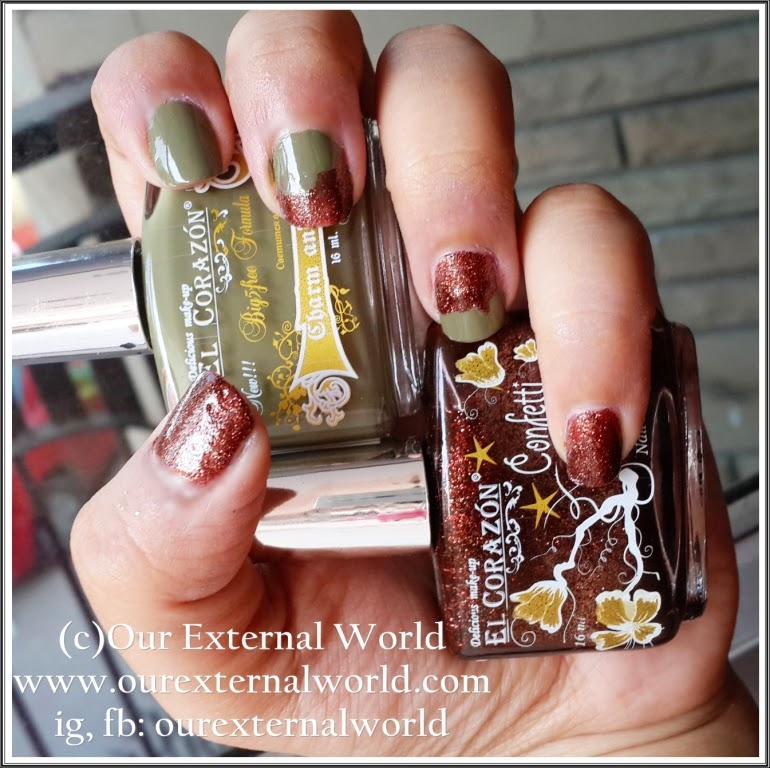 Review: El Corazon Charm And Beauty No 891 & Confetti No 517, swatches, glitter polish, olive green polish