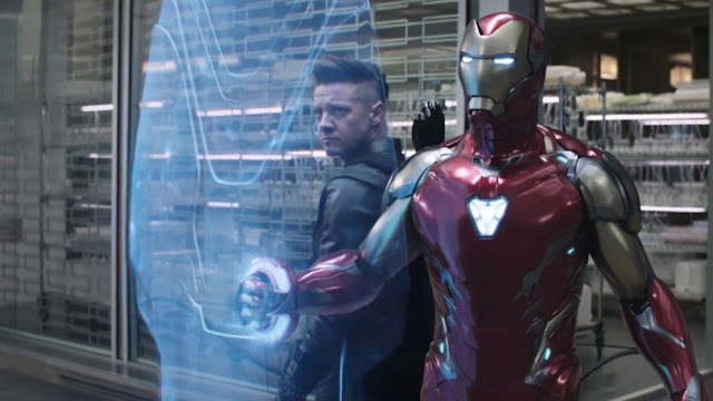 iron man shields hawkeye from danger