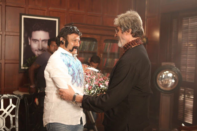 balakrishna meets amitabh bachchan on the sets of sarkar 3