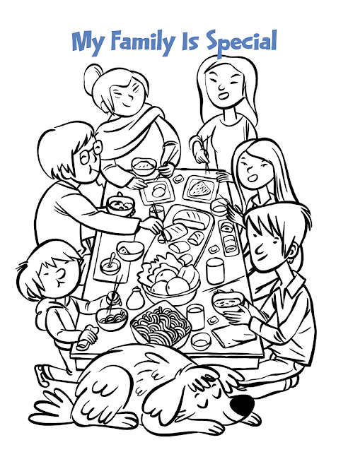 Gambar Mewarnai Makan Bersama Keluarga Tercinta