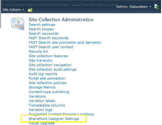 disable sharepoint designer 2010 at site collection