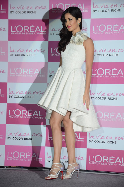 Katrina Kaif Looks Stunning In a White Dress At The Launch Of La Vie En Rose Lipsticks By L'Oreal Paris in Mumbai